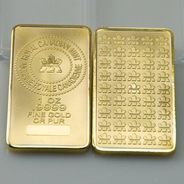 best selling 10 pcs lot, The Royal Canadian mint gold plated 1 OZ souvenir bullion bar