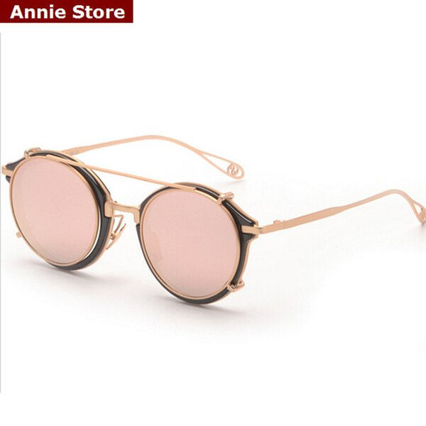 Wholesale-New Marke Clip auf Runde Sonnenbrille Herren Metall Flat Top blau rosa Silber Gold Spiegel Brille mit Clip auf Sonnenbrille Männer UV
