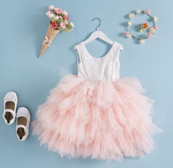 2018 2018 New Children Lace Vest Tulle Tutu Dress Girls Frou Frou ...