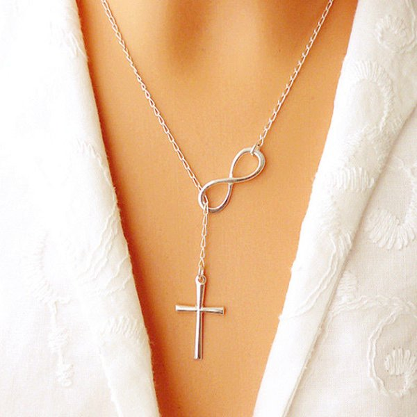best selling NEW Fashion Infinity Cross Pendant Necklaces Wedding Party Event 925 Silver Plated Chain Elegant Jewelry For Women Ladies free shipping