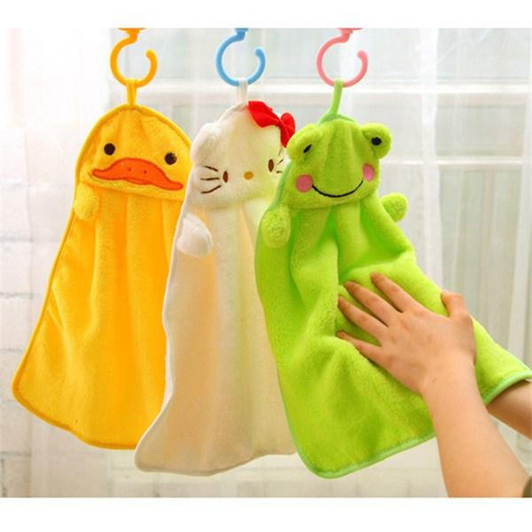 best selling Cartoon Animal hand towel Nice Decoration for bathroom Wshing towel Washcloths super soft coral fleece kids towel wipe sweat hung towel