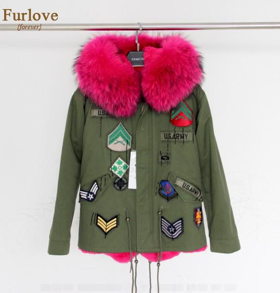 All'ingrosso-Army Green Jacket Women Cappotti invernali Parka spessa Real Raccoon collo di pelliccia con cappuccio Rex Rabbit Fur Lining Outwear stile britannico