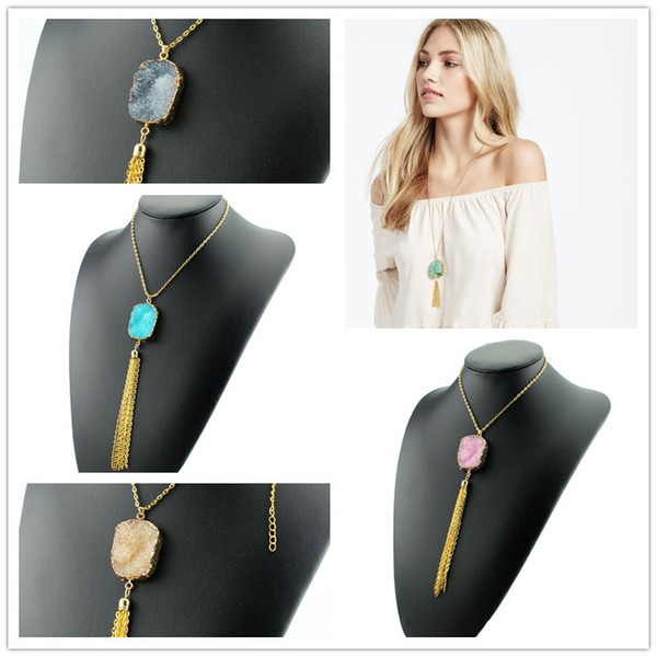 5 Colors Bohemian Resin Druzy Drusy Necklace Gold Metal Chains Tassel Irregular Imitation Crystal Sweater Necklace Christmas gift