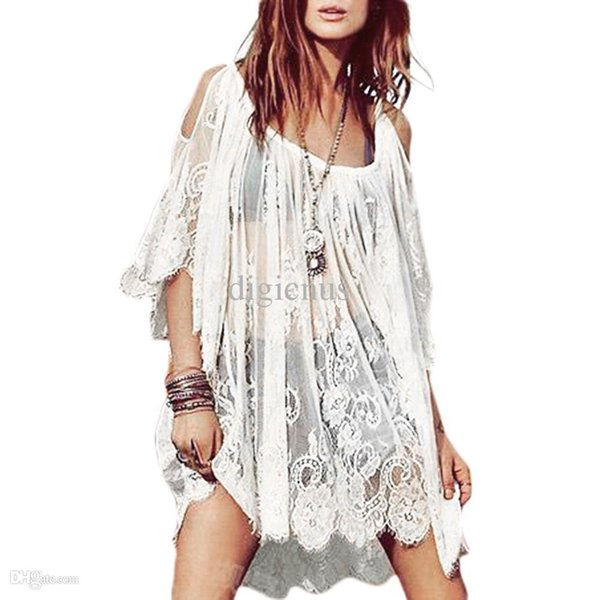 S5Q Women's Floral Mini Dress Vintage Boho Hippie Crochet Lace Party Short Tops AAADSY free drop shipping China apparel factory