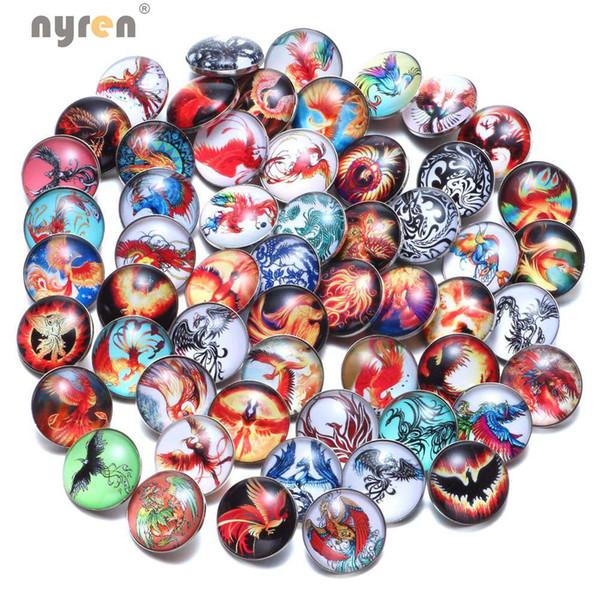50pcs/lot High Quality Mixed Phoenix Pattern Snaps Buttons Fit 18mm Jewelry Charm Glass Snap Bracelets Bangels KZHM083