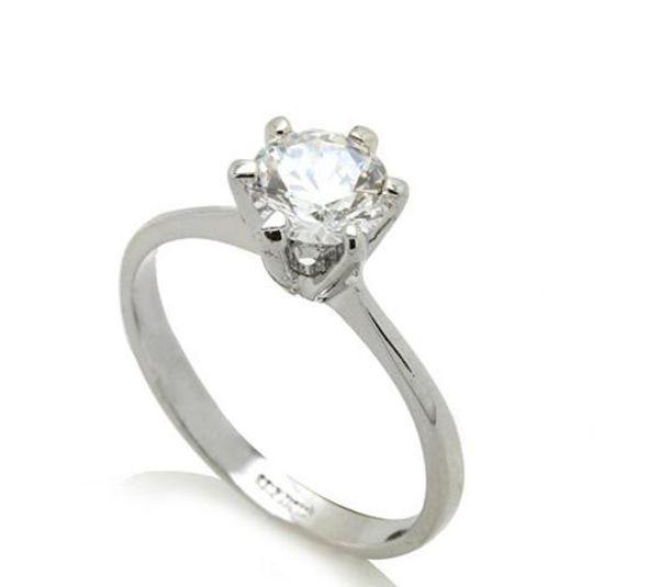 PRONG SET ROUND BRILLIANT LAD DIAMOND RING VVS1 0.64 CT 14K WHITE GOLD FILLED WEDDING NWT