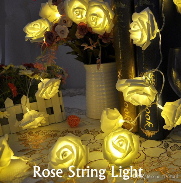 20 LED Battery Operated Rose Flower String Lights Wedding Garden Christmas Home Party Decor Warm White/Pink/White/Red/Blue/Green Led Strings