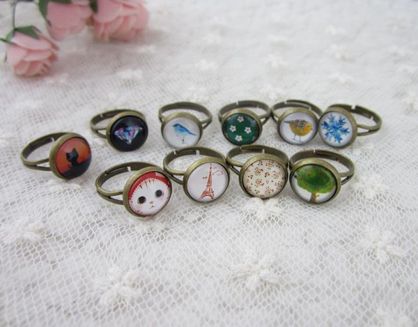 best selling Retro Cluster Rings Hot Sale DIY Jewelry Gemstone Charming Band Rings Adjustable Size Fashion Jewelrys Wholesale Free Shipping - 0009HM