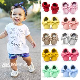11 Colors New Baby First Walker Shoes moccs Baby moccasins soft sole moccasin leather Colorful Bow Tassel booties toddlers shoes Free EMS