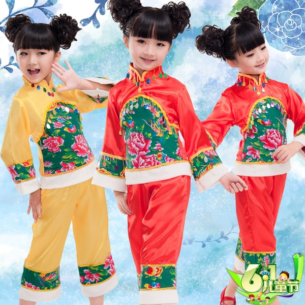 Christmas Childrens Day Girls Ethnic Yangko Yang Ger Kid Dance Dress Yangge Child Traditional Han