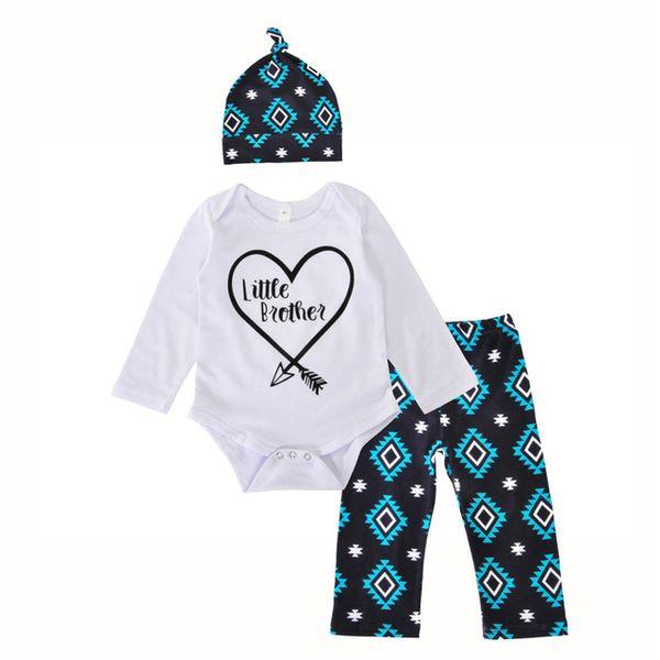 Neonato Set di abbigliamento a forma di cuore freccia Little Brother pagliaccetto + geometria pantaloni + cappello 3pcs imposta lettera di moda ragazza ragazzo vestiti abiti