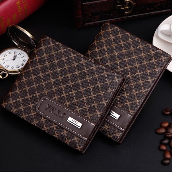 New Arrival Horizontal Short Men's Wallets New Design Grid Top Credit Card Holder Purse Men Wallet Wholesale Free shipping