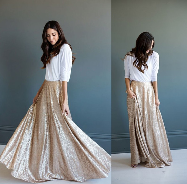 top popular Ruffled Champagne Sequins Maxi Dresses Gorgeous A-line Long Skirt Glittering Winter Skirts for Women Heavy Top Quality Skirt Pleated 2021