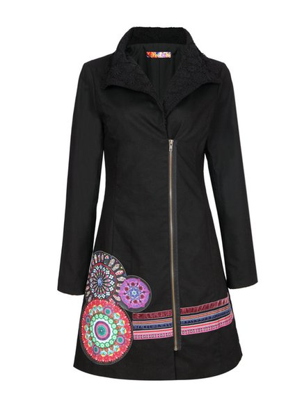 Wholesale-2015 K&H design new style trench coat top quality black color overcoat for women zippers and flower pattern