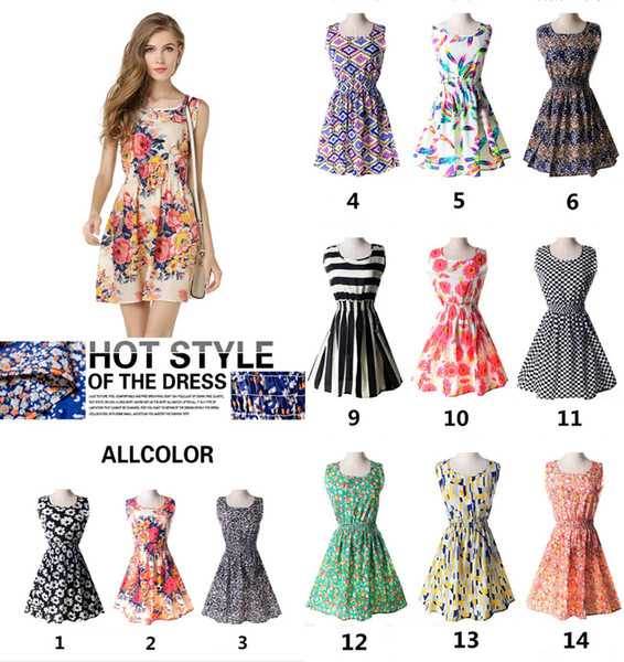 best selling wholesale summer Floral printing Women's Clothing Girls clothes sleeveless dress fashion ladies dress Casual Dresses 207