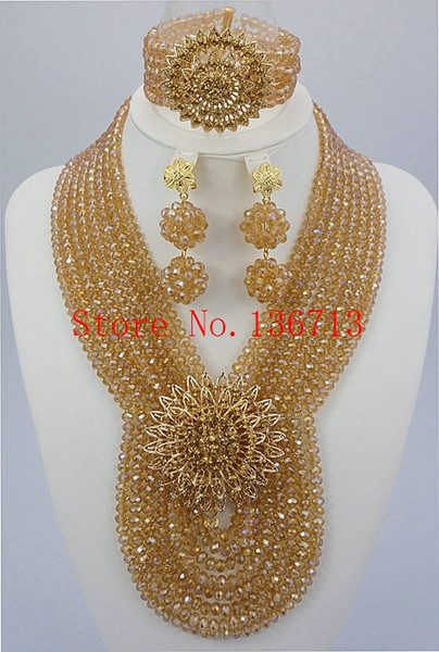 Gold Plated African Costume Crystal Jewelry Set Factory Price,Fashionable Design African Beads Jewelry Set Sky Blue SD802-3