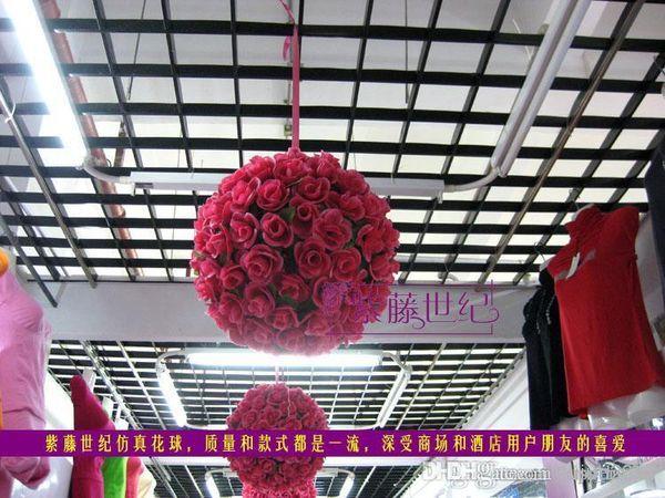 New 20cm Silk Rose Flowers Balls Kissing Balls Optional-Colors Wedding Bows Silk Rose Pomander Flower Ball Bridal Wedding Decor Favor P
