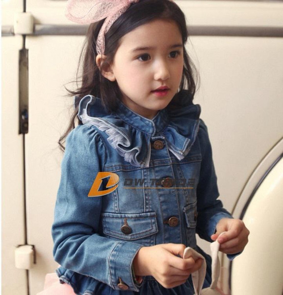 best selling DHL FREE 2014 NEW Kids Toddlers Girls Long Sleeve spring autumn Blue Short Jean Coats denim Jackets solid collar with lace behind