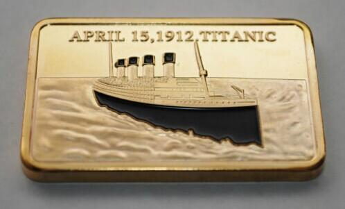 top popular 10pcs lot 24k Gold Plated Bullion Bar Tragedy Of The Titanic Souvenir Gold Bar In Memory Of Titanic Victims 1OZ Gold Layered .999 2019