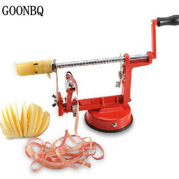 Goonbq 1 Pc 3 In 1 Apple Peeler Stainless Steel Fruit Peeler Slicing Machine Pear Apple Peeled Creative Kitchen Tools Cutter Zester