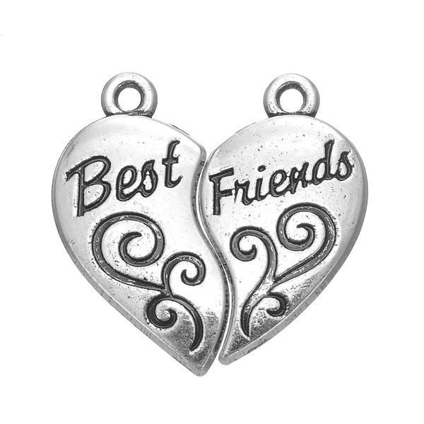 5pairs/lot (1pairs=2piece)Antique Silver Plated Words Best Friends Detachable Heart Charm Hot Sell Charm DIY Necklaces&Bracelets