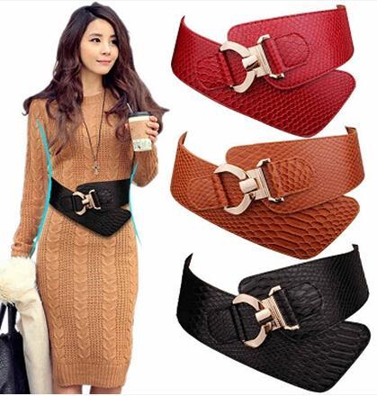 Wholesale-Women Belt Cummerbunds Fashion Design Elastic Bow Waist Belt Buckle Cowhide Leather Wide Belts Female Strap Waistband For Dress