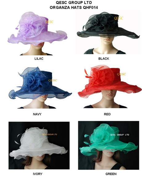 best selling Fashion organza hat with organza flower and feather for wedding church party Kentucky derby,6 colors available