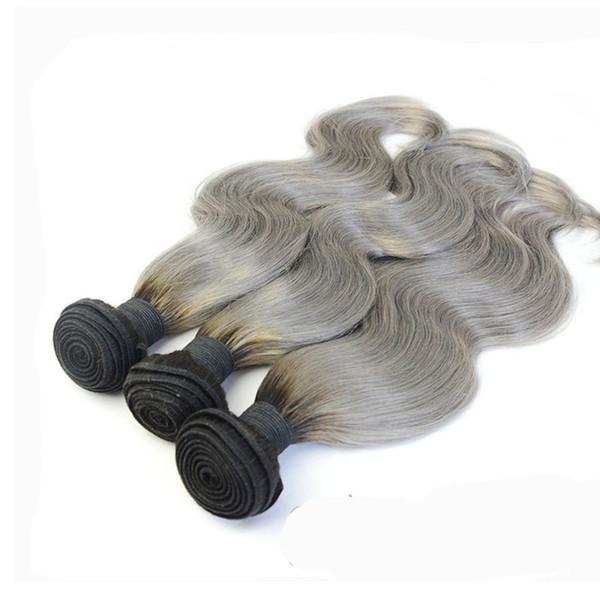 Two Tone Brazilian Peruvian Indian Malaysian Human Hair Bundles T1b Grey Ombre Virgin Hair Weaves Body Wave 3pcs 4pcs Lot 10-30 inch