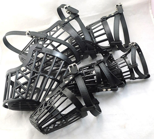 "Wholesale-NEW Pet Dog Black (6""~13.5"") Dog no bark Adjustable Basket Cage mesh Muzzle mask Guardian B80"