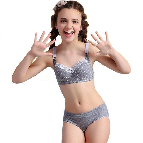 2016 Puberty Girls Lace Dot Cotton Underwear Set For Teenage Girls ...