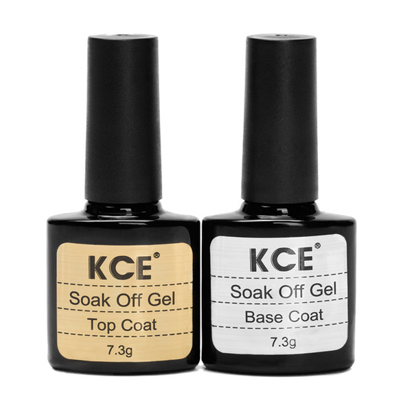 Wholesale- Top Quality Long Lasting Nail Gel Top Coat Top it off+Base Coat Foundation for UV Gel Polish 7.3g Gel Nail Lacquer