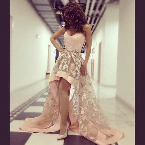 Sexy Arabic Star Myriam Fares Dresses Sweetheart Backless High Low Prom Dresses Elegant Pink Tulle Applique Wedding Party Gown