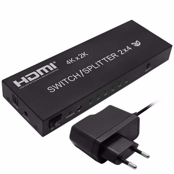 Freeshipping 4K*2K 1080P 3D 2x4 Matrix HDMI Video Switch Splitter Amplifier 1.4a Full HD w/ Remote