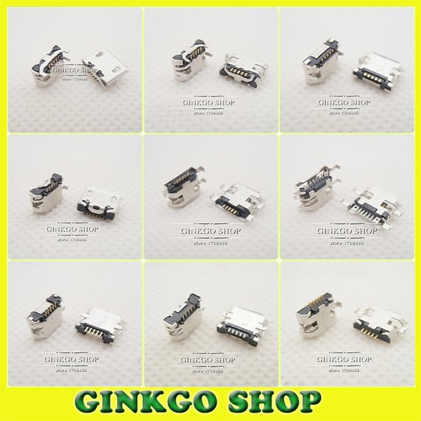 top popular Wholesale-10Models,100pcs total Micro USB 5Pin jack tail sockect, Micro Usb Connector port sockect for samsung Lenovo Huawei ZTE HTC ect 2021