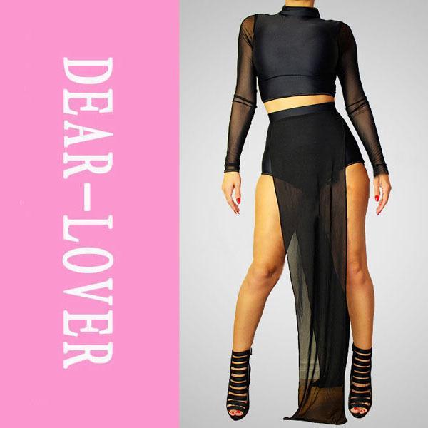 Sexy Women Black Mesh Panel Long Sleeve Crop Top and Short Pant Set LC6449 novelty pantskirt Clubwear 2014 new high street FG1511