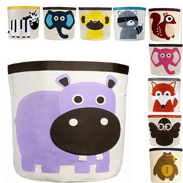 Wholesale- Large Capacity Cute Baby Toys Storage Canvas Bags Animal Pattern Laundry Bag Pouch Baby Kids Toys Storage Bag Organizer