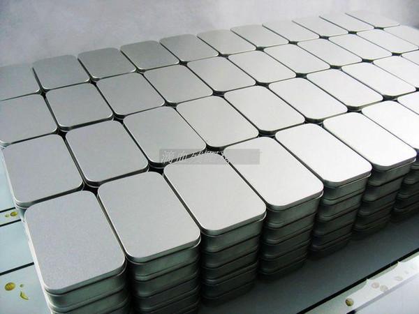 Plain silver color tin box,rectangle tea candy business card usb storage box case FREE SHIPPING