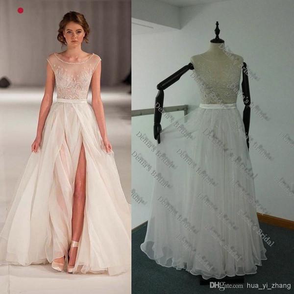 Discount 2014 Paolo Sebastian Real Sheer Beach Wedding Dresses A ...