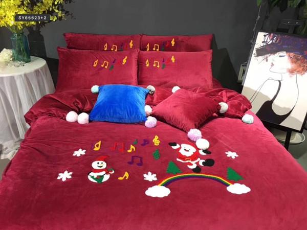 Großhandel Winter Velvet Plüsch Red Christmas Bettwäsche Set Jungen