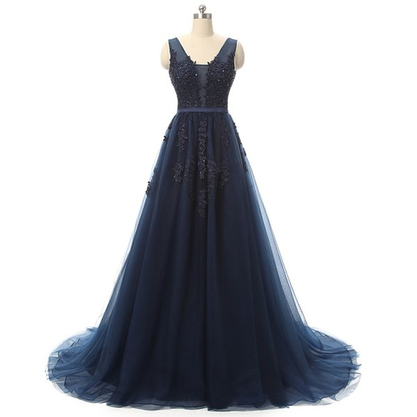 Competitive Price A-Line Style Evening Dress Navy Blue Young Ladies Tulle Party Gown With Lace Appliques