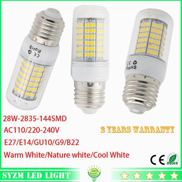 E27 led corn light GU10 bulbs E14 lamp SMD2835 144LED AC110 220 240V