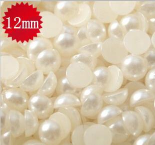 2015 venta caliente 300 unids 12 mm suelta media perlas de acrílico lácteo Flatback perlas forma redonda espalda plana perlas cuentas