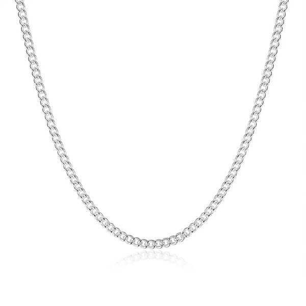 Good Gift 925 Sterling Silver 2MM Flat Curb Chains Necklace Fit All Pendant Necklace Mix Size 16-24inch