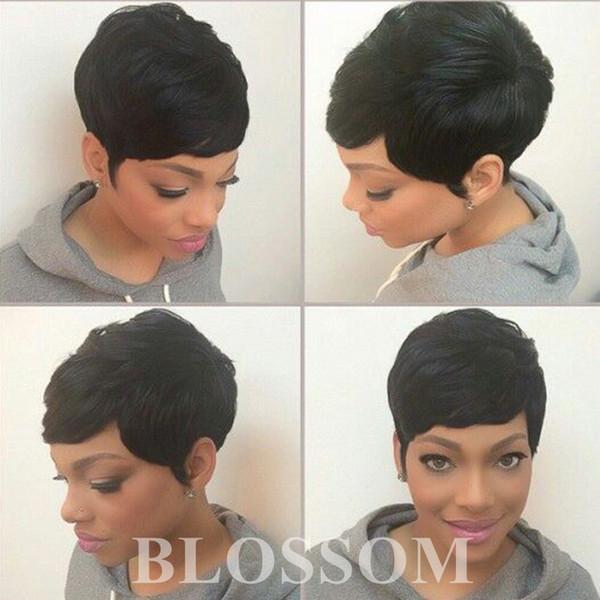 100% Human Hair Pixie Short Cut Wigs Black