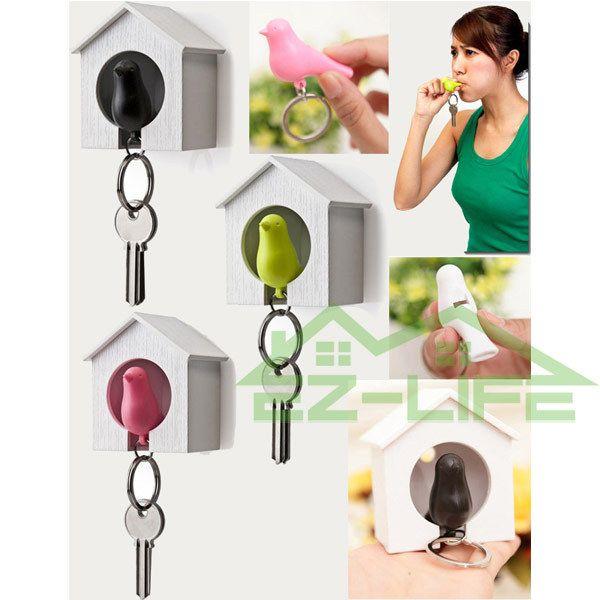 Hochzeitsgeschenk Plastikspatzenschlüsselring, Liebesvogelhäuschen Schlüsselhalter Kunststoff-Whistle Keychain kreative Geschenke Spatzen-Schlüsselring E451L