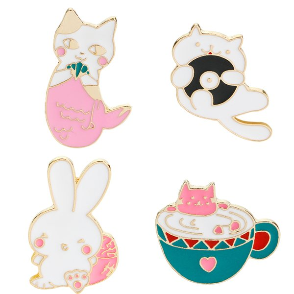 Cute Cartoon Cats Rabbit Soft Enamel Brooch Pin Set for Clothes Hat Bag Scarf Corsage Badge Lapel Button Pin Accessories