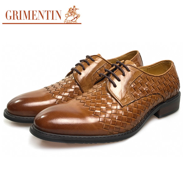 GRIMENTIN Hot sale mens dress shoes Italian fashion designer men oxford shoes genuine leather braided formal business wedding male shoes
