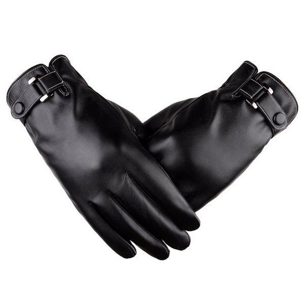 Touch-screen Men Gloves Washed Leather Gloves Tendons Autumn and Winter PU Plus Velvet Thick Korean Fashion Drive