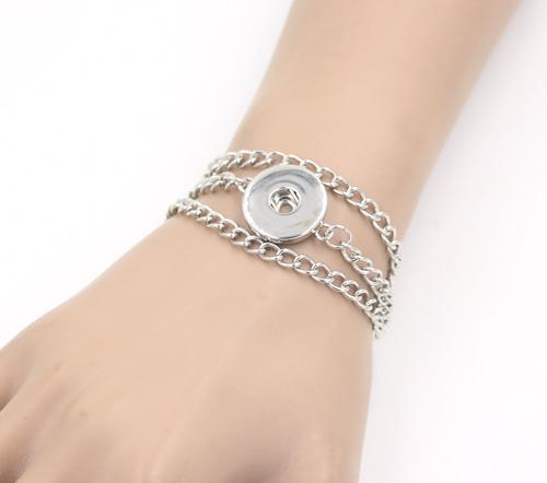 Nouvelle Arrivée Classique Morceaux Snap Bracelets, À La Mode DIY Interchangeable 3 Rangées Trois Lignes Snap Bracelet Bijoux Bijoux Pulsera