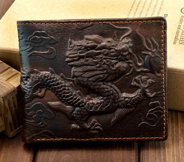 Vintage Dragon Genuine Leather Bifold slim Card Holder Money Clip Long Wallet